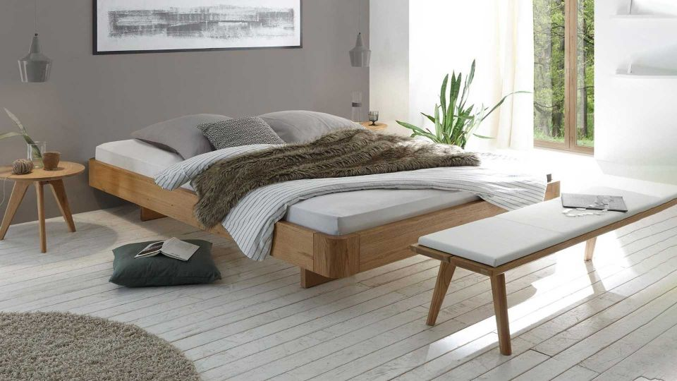 Floating bed Airo without headboard. Mattress, bedding and slatted frame not included.