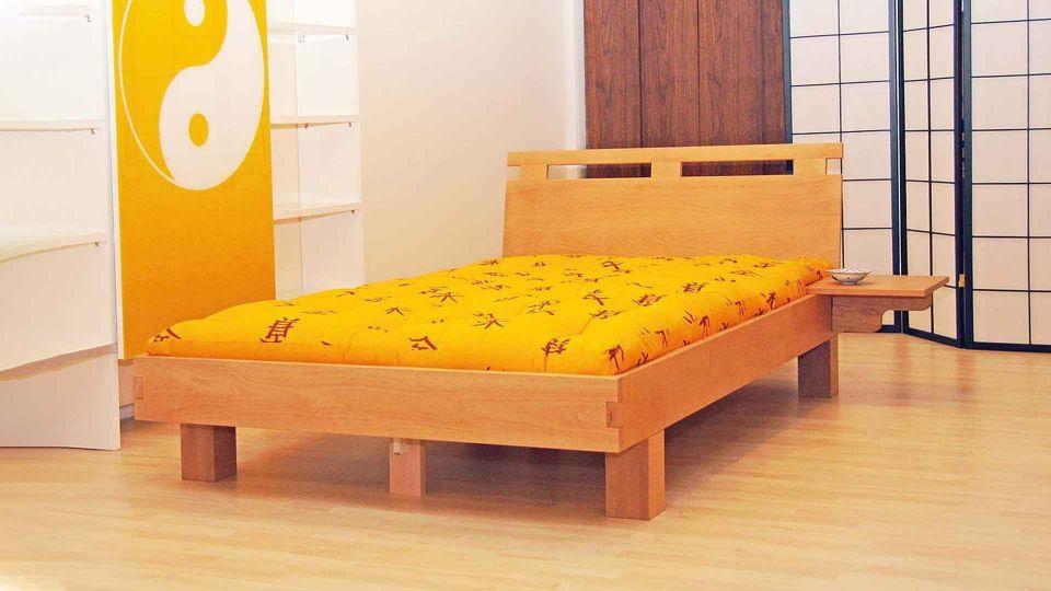 Bed frame Emoji; beech wood; with backrest|Futon bed Emoji; beech wood; with backrest