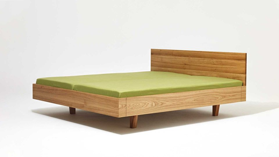 Floating bed Mamma Wood|Solid wood floating bed with headboard