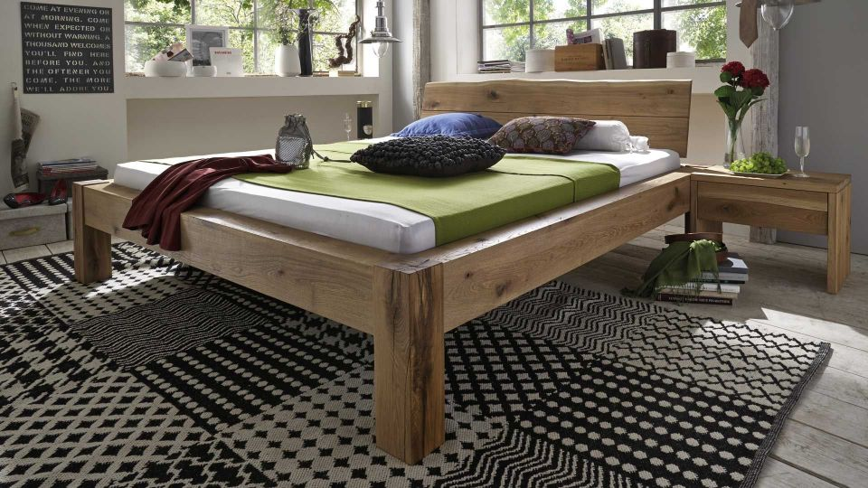 Tree edge bed with headboard also available without headboard | Solid wood tree edge bed in wild oak