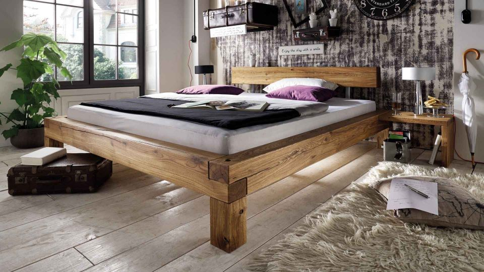 Bed Oak Beam - made from solid oak. Mattress, bedding and slatted frame not included.