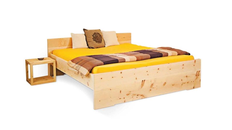 Stone pine bed sun including headboard|bed from stone pine wood; model sun