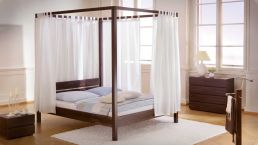 Canopy bed Roof with Backrest, Curtain and Nightstand; Beech Wood chocolate lacquered|Canopy bed in Beech wood with Nightstand