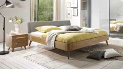 Bed Airo with headboard variant 2 (upholstered) - fabric type: Light Grey. Mattress, bedding and slatted frame not included.