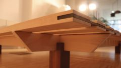 Bed Nomade - beech bed with incorporated walnut strip